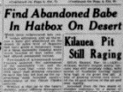 The Arizona Republic front page on Dec. 25, 1931, features an article on the first discovery of Hatbox Baby in the desert.