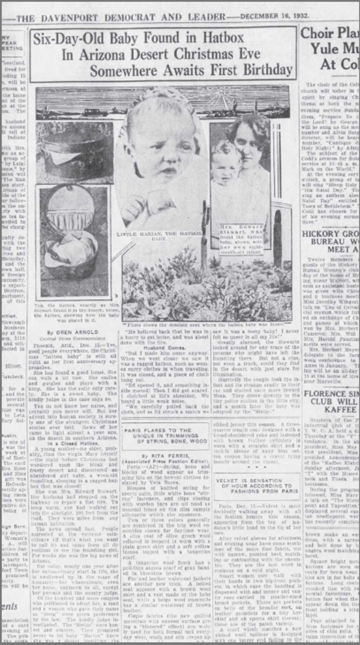 The Hatbox Baby story appeared in papers around the country, including the Quad-City Times in Davenport, Iowa, Dec. 16, 1932.