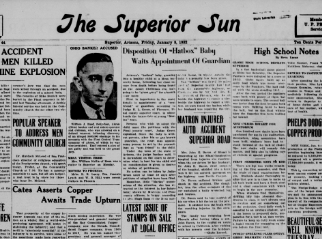 A news article on the Hatbox Baby awaiting the appointment of a guardian was published in The Superior Sun in Superior, Arizona on Jan. 8, 1932.