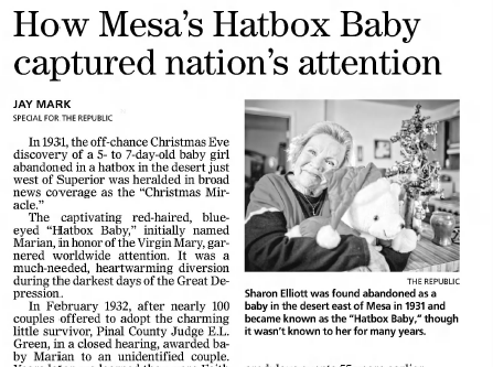 An update on Sharon Elliott's story as the Hatbox Baby as published in The Arizona Republic on Nov. 28, 2014.