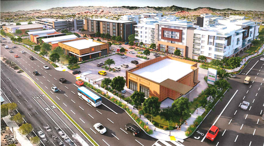 A rendering of the new development planned at Papago Plaza on Scottsdale and McDowell roads. Papago Plaza is in the middle of redevelopment talks in the city after years of sitting vacant. The development will be mixed-use, with a grocery store, hotel, five-story apartment building, four-story parking garage, in addition to restaurants and retail.