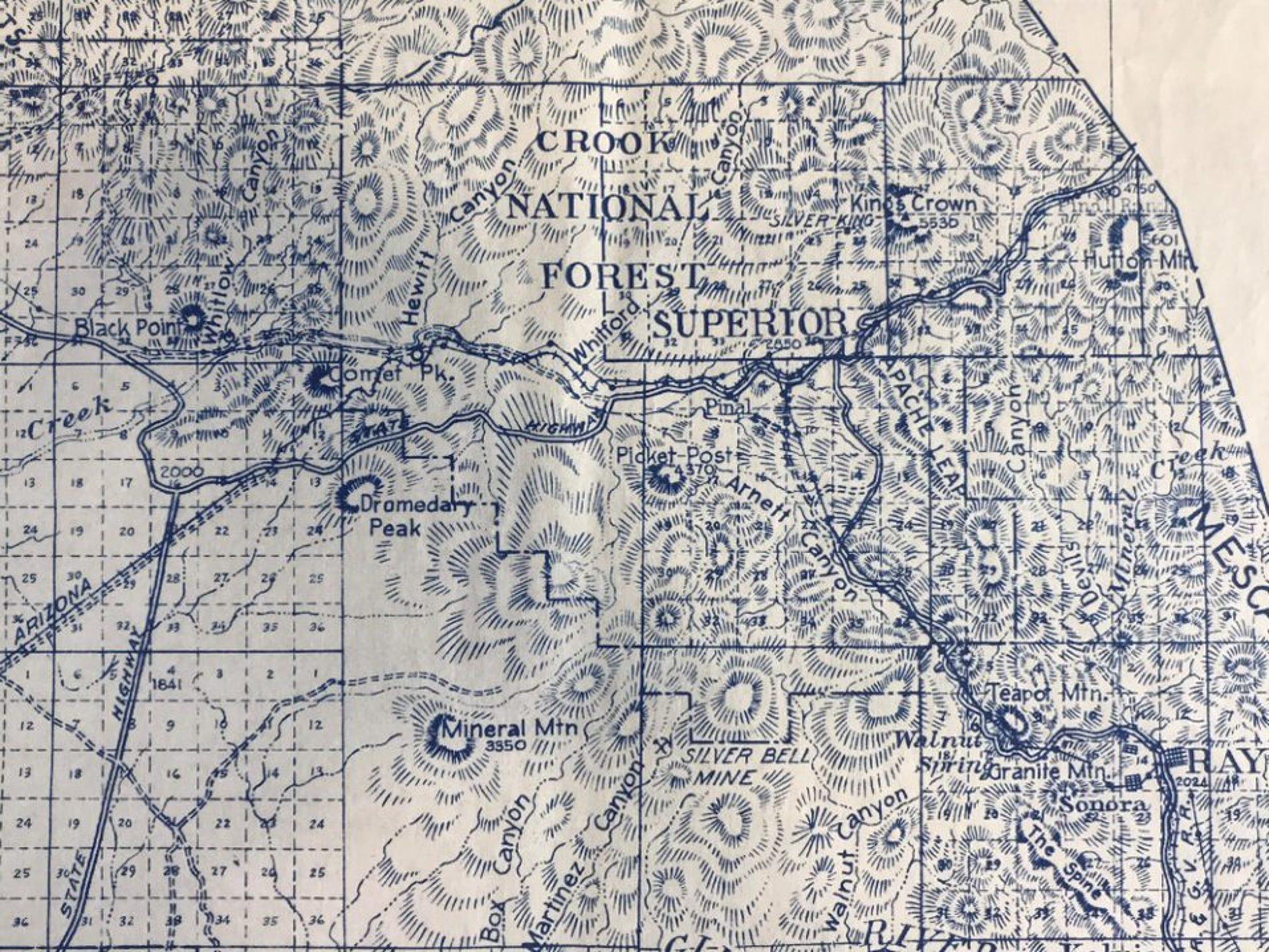 Roadmap of Superior, Arizona in 1927.