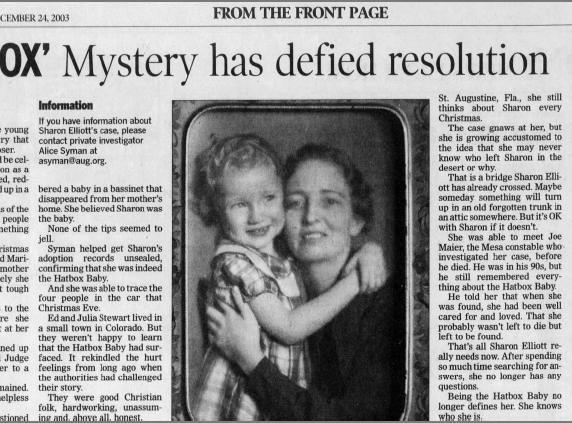 An update on Sharon Elliott's story as the Hatbox Baby in The Arizona Republic on Dec. 24, 2003.