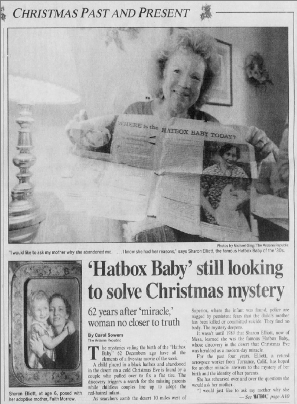 An update on Sharon Elliott's story as the Hatbox Baby as published in The Arizona Republic on Dec. 24, 1993.