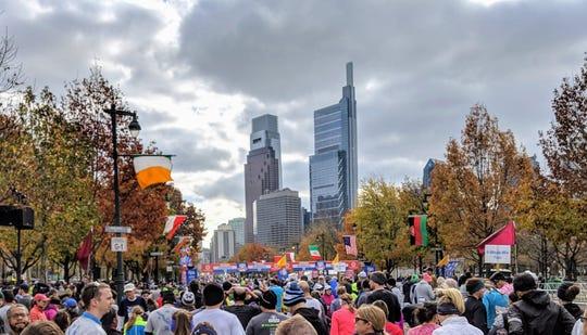 A sea of runners prepare to run the Philadelphia Marathon in November.
