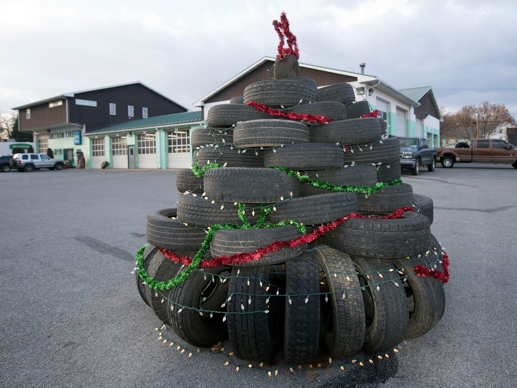 Shetron's Tire Service, Shippensburg, has a creative version of a Christmas Tree in their Orange Street lot.