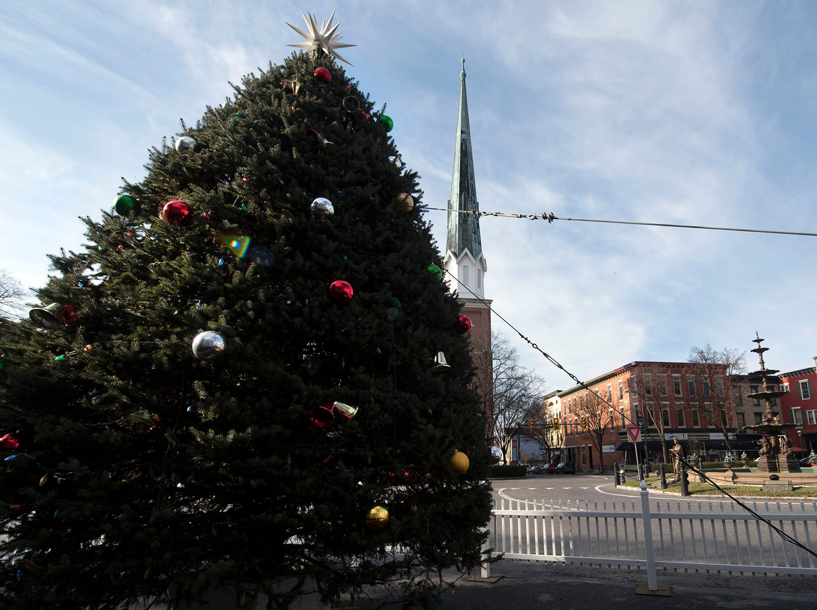 Chambersburg Christmas tree is on Memorial Square in Downtown Chambersburg.