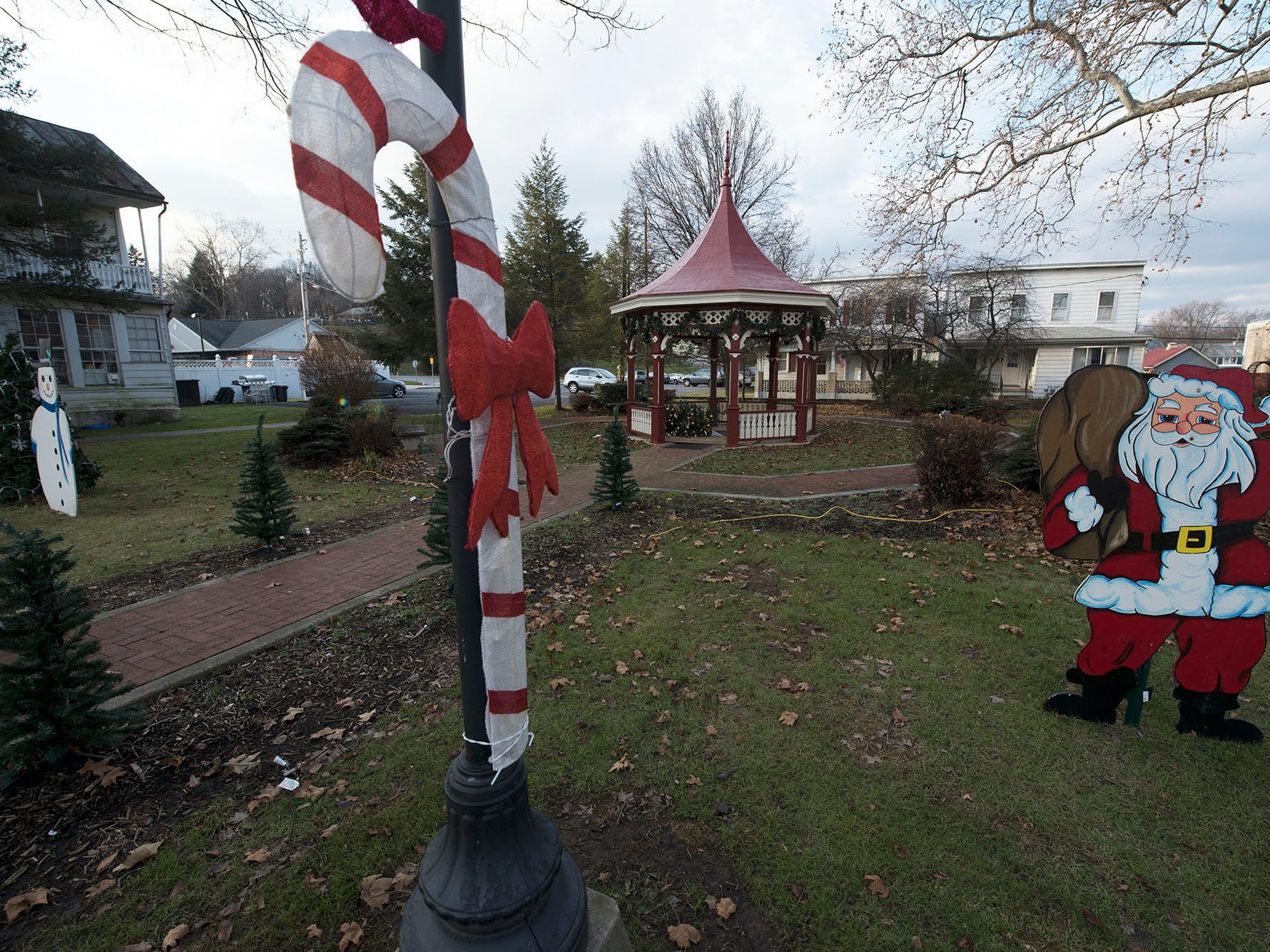 Spring Yard Gazebo is decorated for Christmas along King Street in Shippensburg.