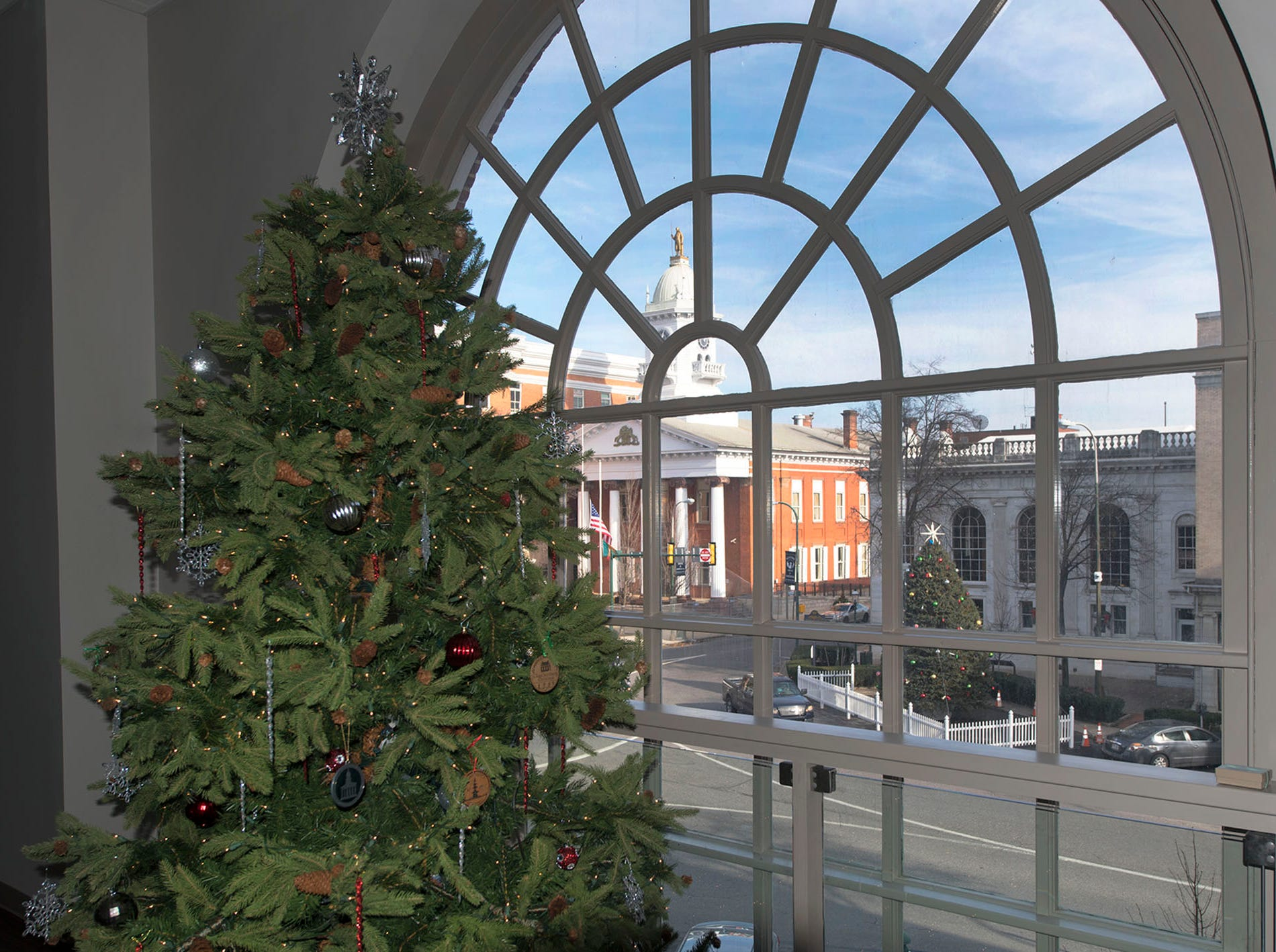 Franklin County Visitors Center's Christmas tree overlooks Downtown Chambersburg , as seen Monday, December 17, 2018.