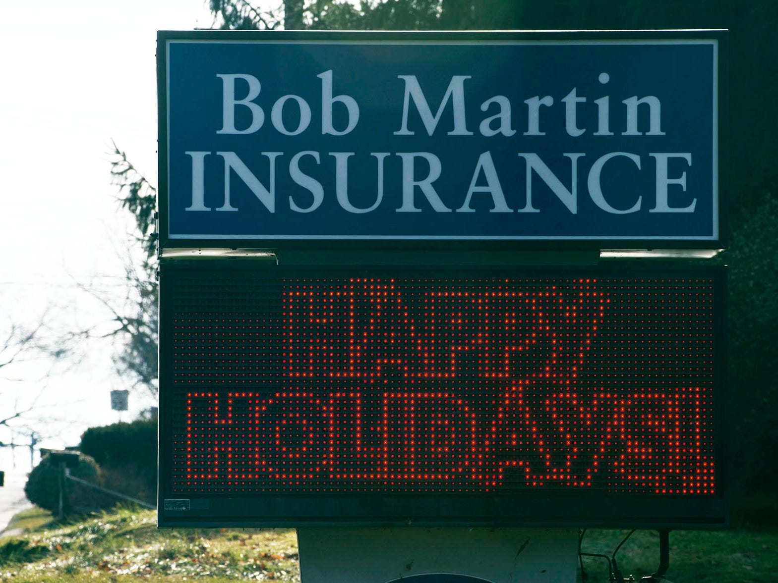A sign at Bob Martin Insurance, along South Main Street, Chambersburg, shows a holiday message on Monday, Dec. 17, 2018.