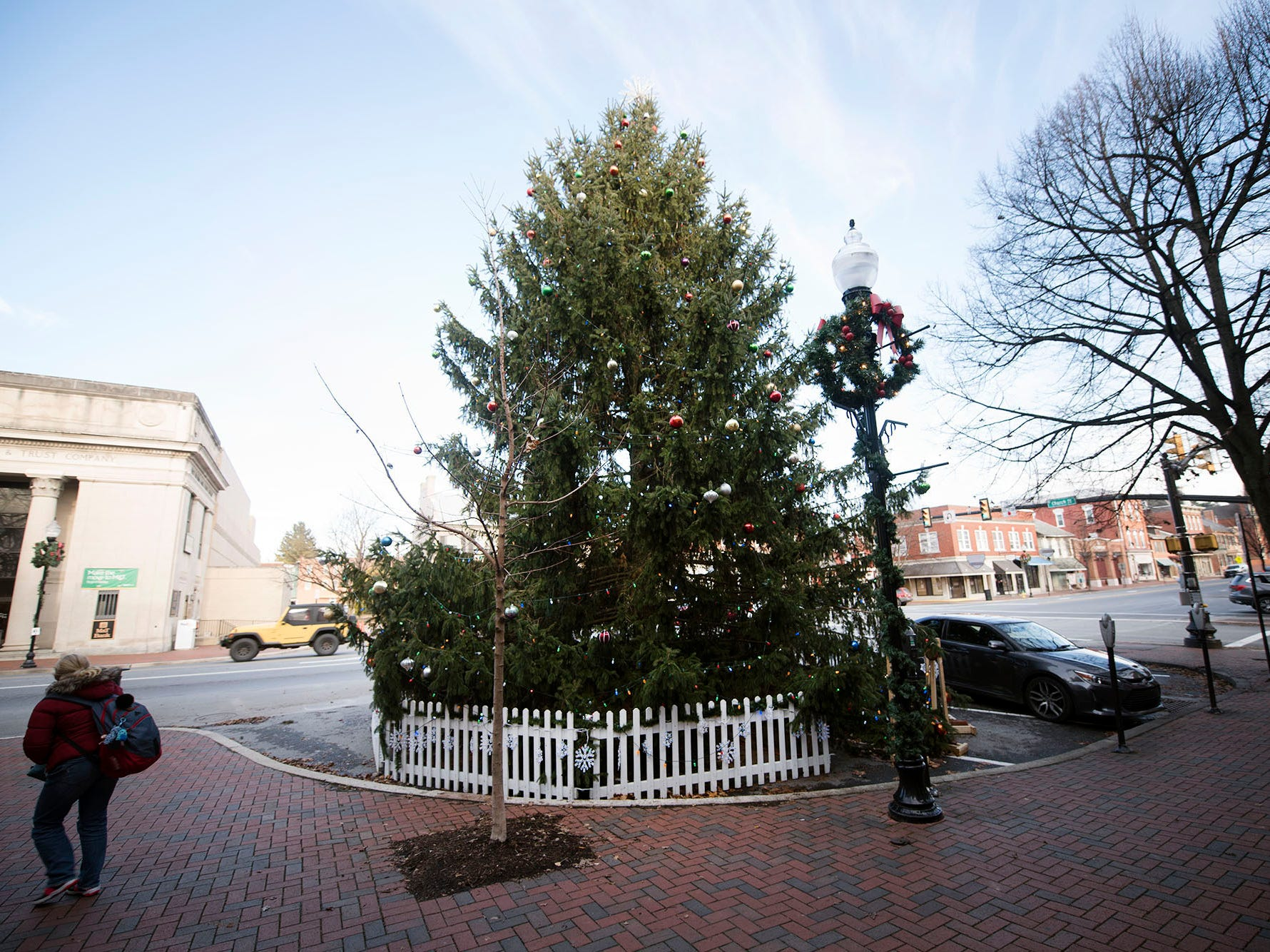A tree is on the square in Waynesboro for the Christmas season.