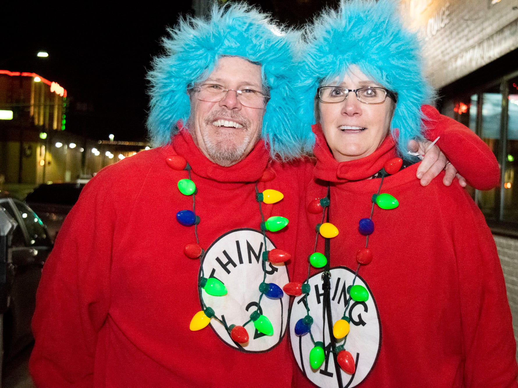 Peter and Vicki Faye get merry at the Reno Santa Pub Crawl on Saturday, Dec. 15, 2018.