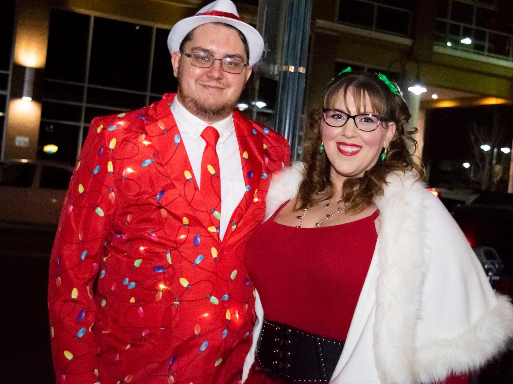Joe and Jenny Krall get merry at the Reno Santa Pub Crawl on Saturday, Dec. 15, 2018.