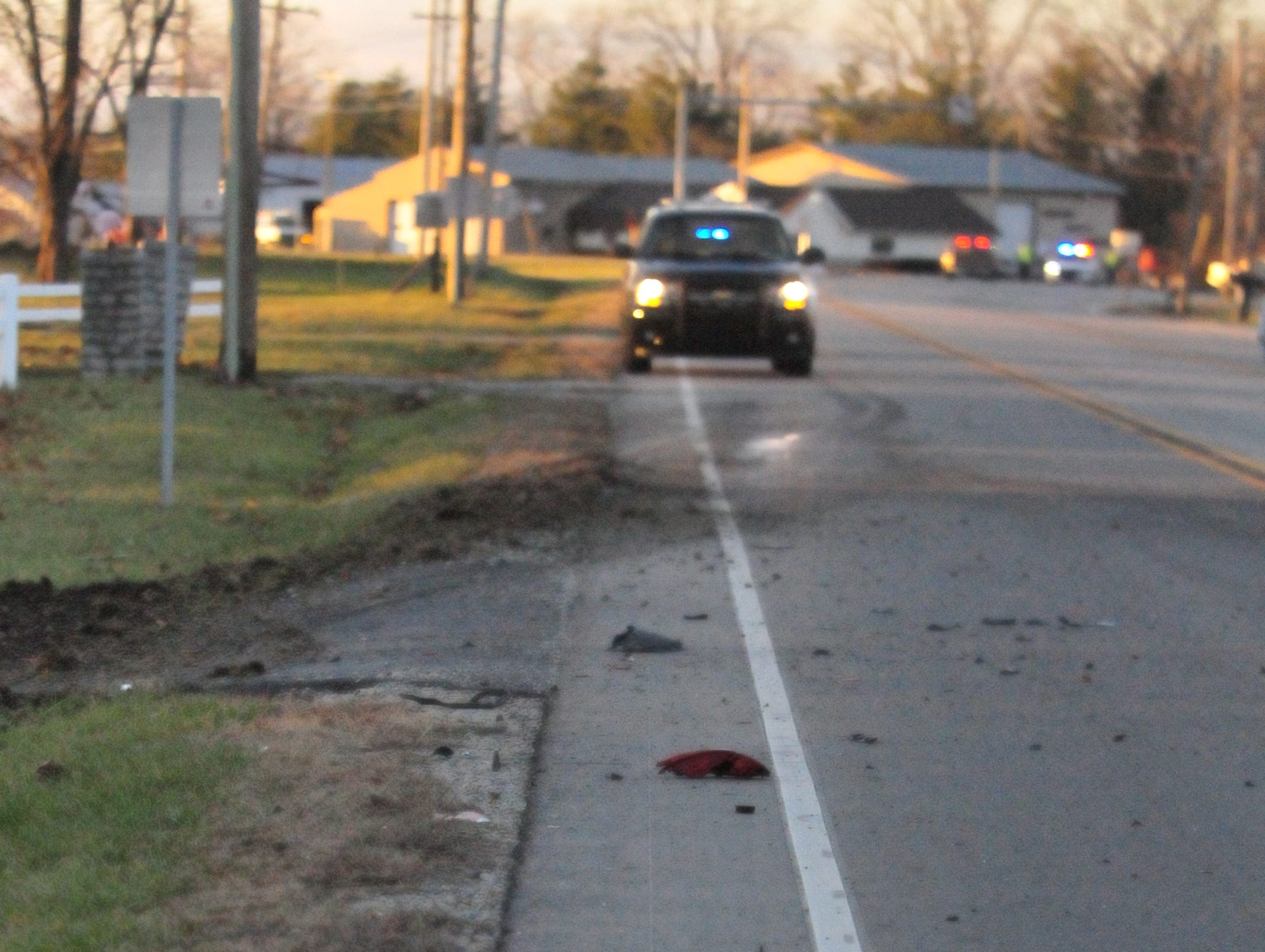 Debris was scattered on the marked U.S. 35 pavement Monday afternoon following a three-vehicle accident.
