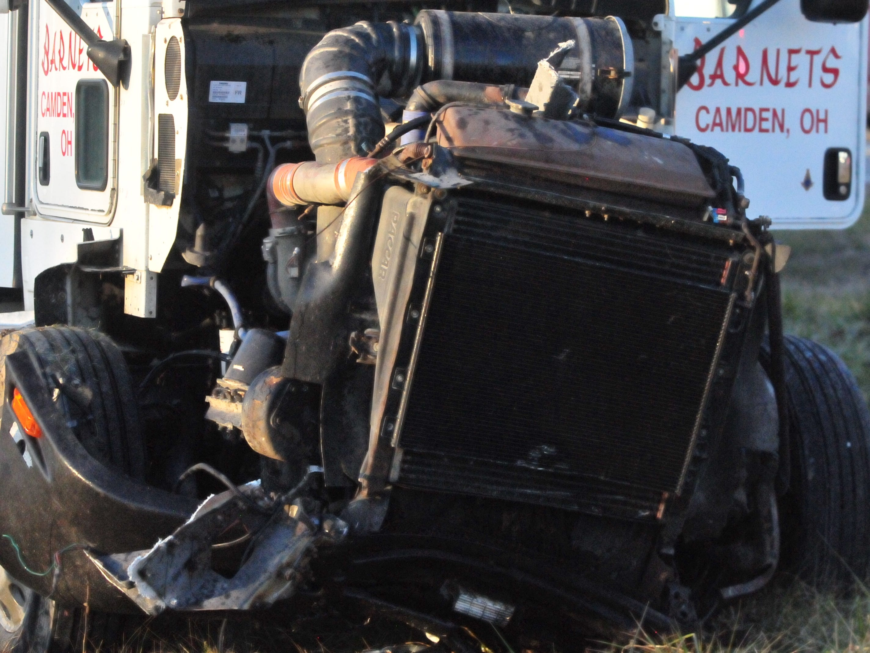 A damaged semi tractor-trailer came to rest in a grassy area adjacent to U.S. 35 after a Monday afternoon accident.
