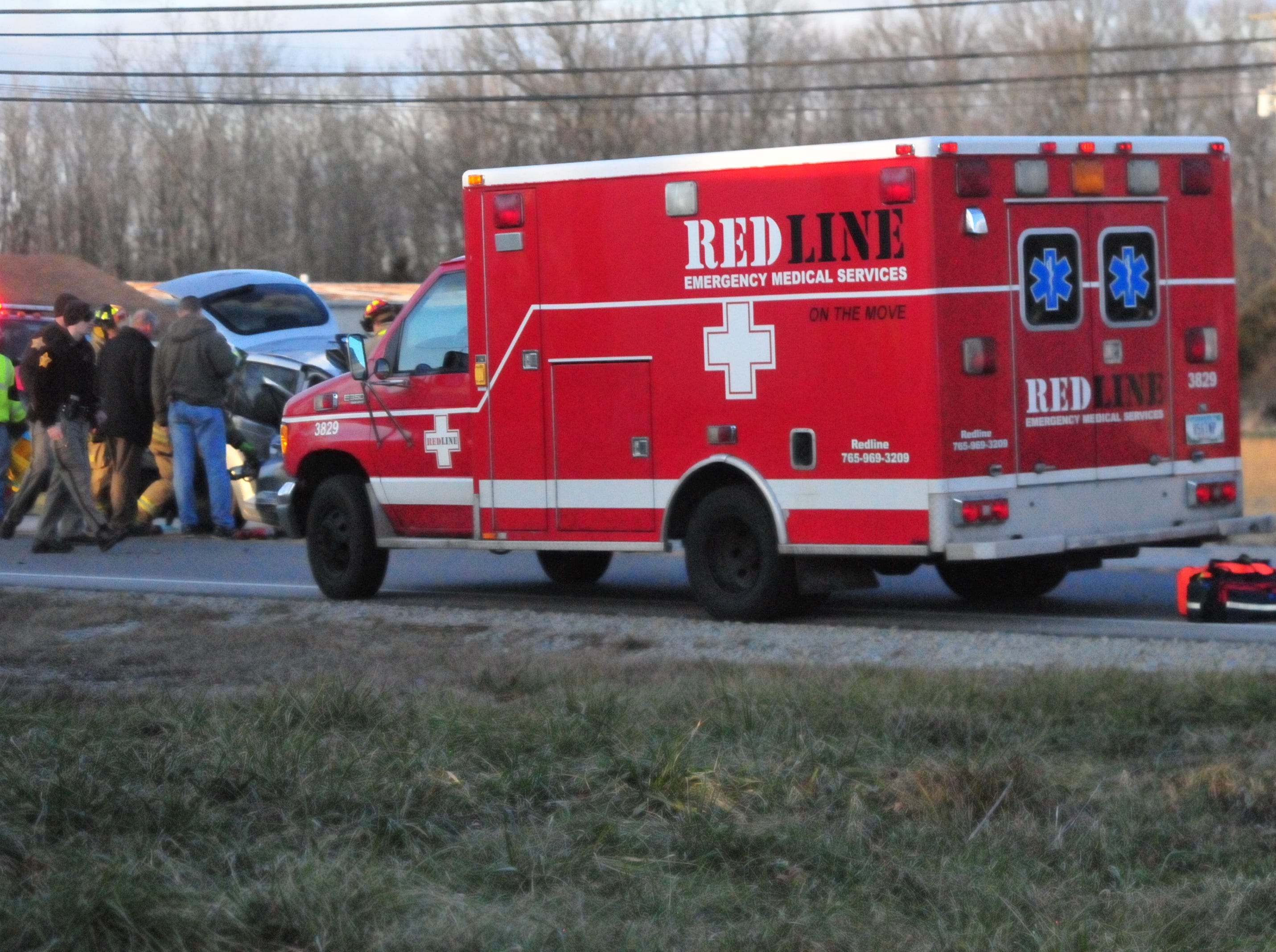 A Red Line ambulance responded to the scene of an accident on U.S. 35 involving a silver PT Cruiser.