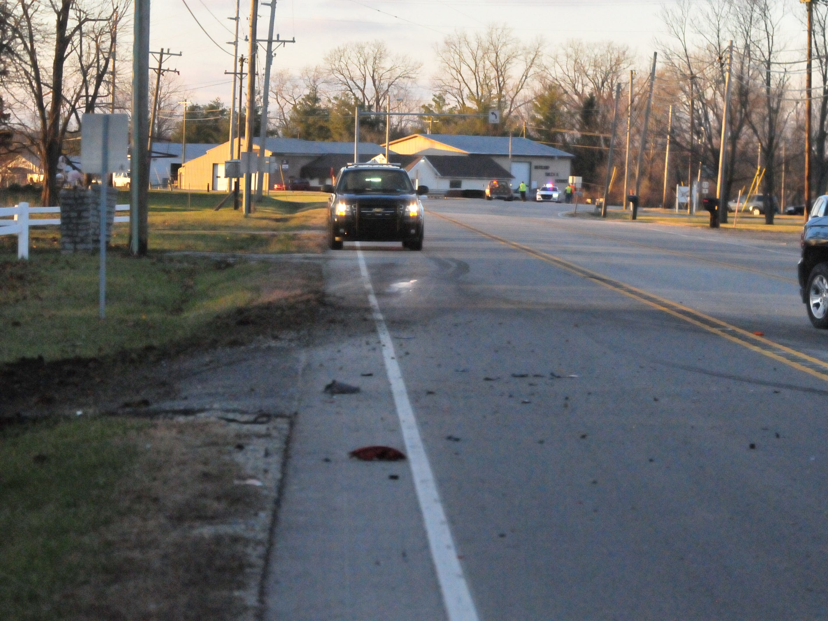 A three-vehicle accident Monday afternoon left debris and markings on U.S. 35 north of Salisbury Road.