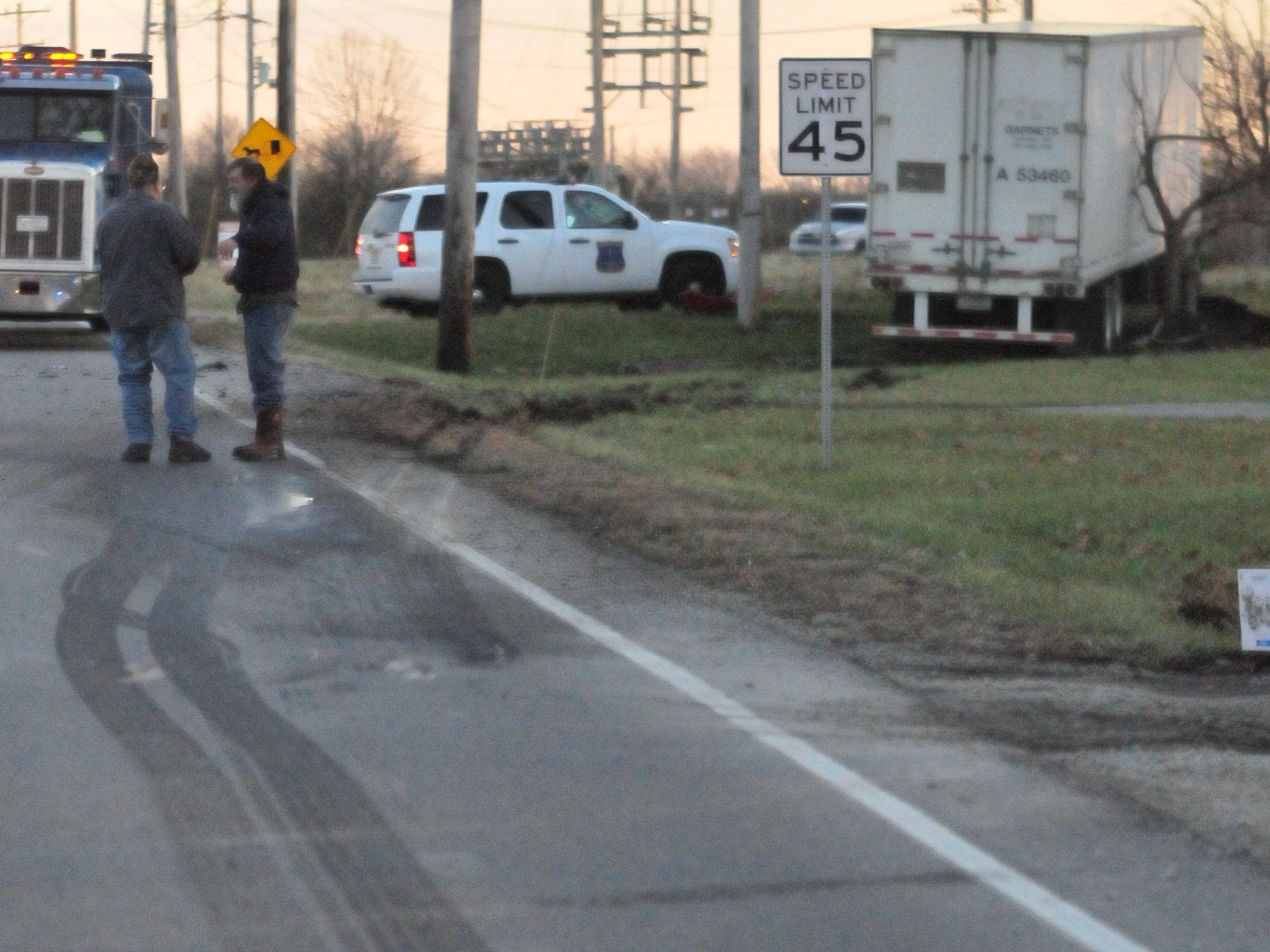 Tire tracks show the path of a semi tractor-trailer involved in a Monday afternoon accident on U.S. 35.
