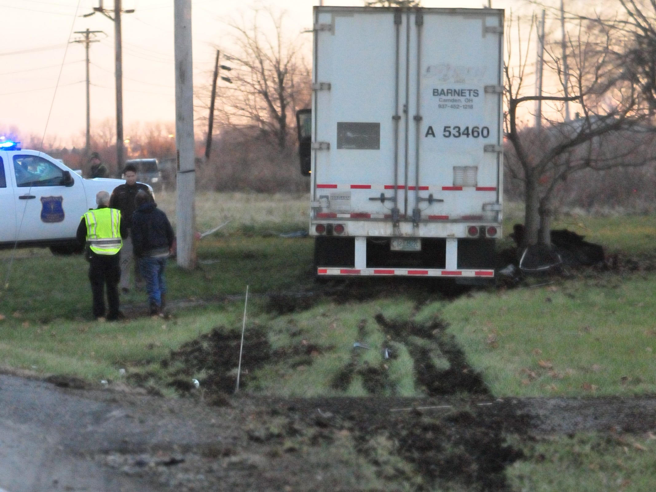 A semi tractor-trailer veered off the roadway between a utility pole and a tree Monday afternoon on U.S. 35.
