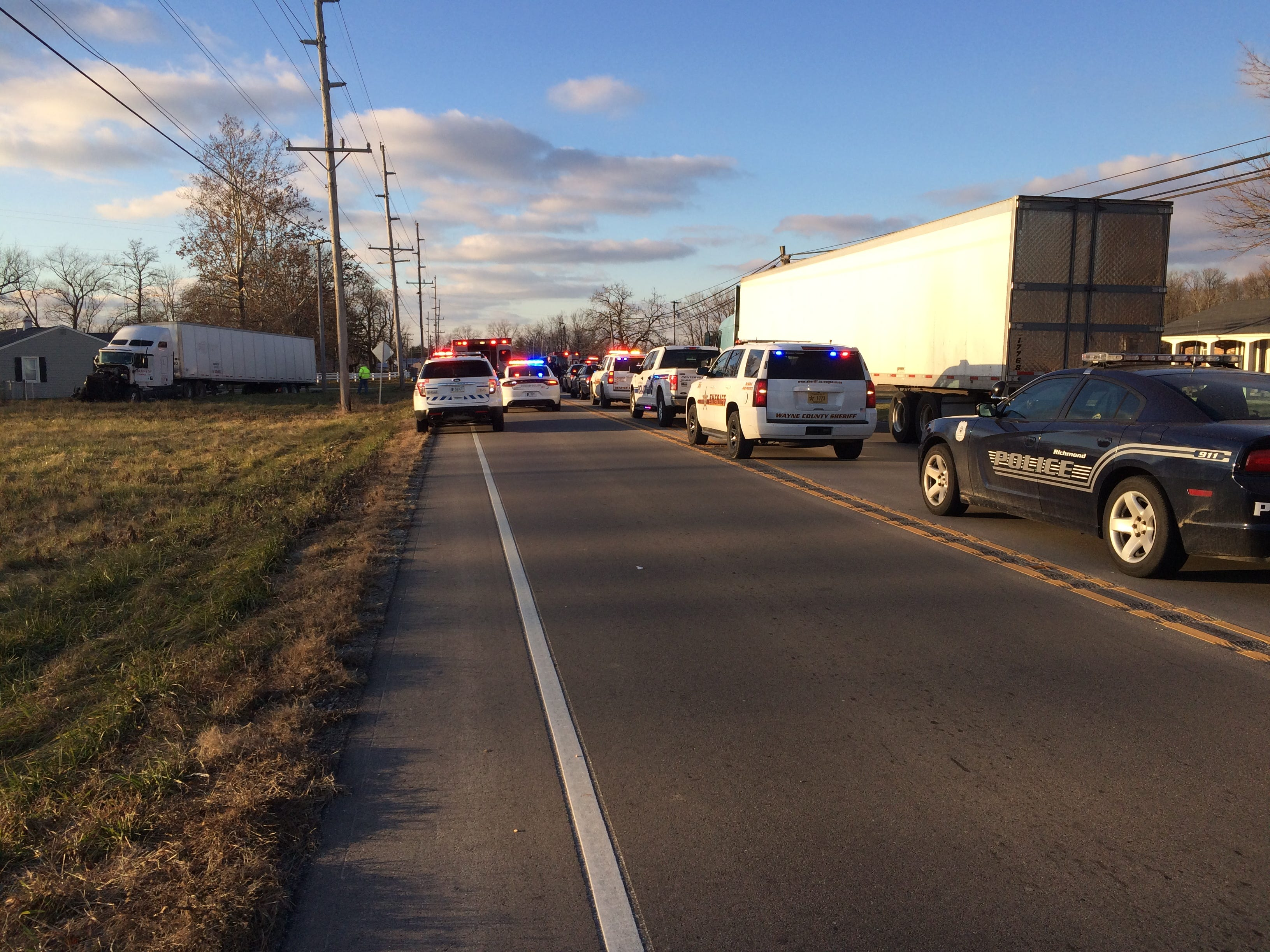 U.S. 35 was blocked Monday afternoon north of Salisbury Road after a three-vehicle accident.