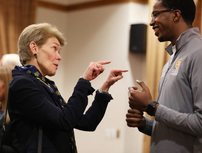 Sarah Mangelsdorf, the next president of the University of Rochester talks with Jamal Holtz, with student government, after it was announced she would be the first woman to lead the university.
