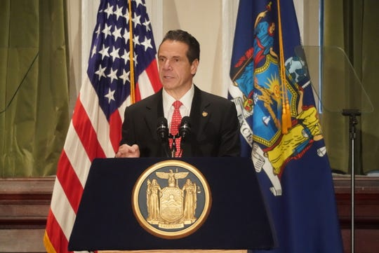 Gov. Andrew Cuomo speaks Monday, Dec. 17, 2018, at the New York City Bar Association as he unveils his agenda for the first 100 days of his third term