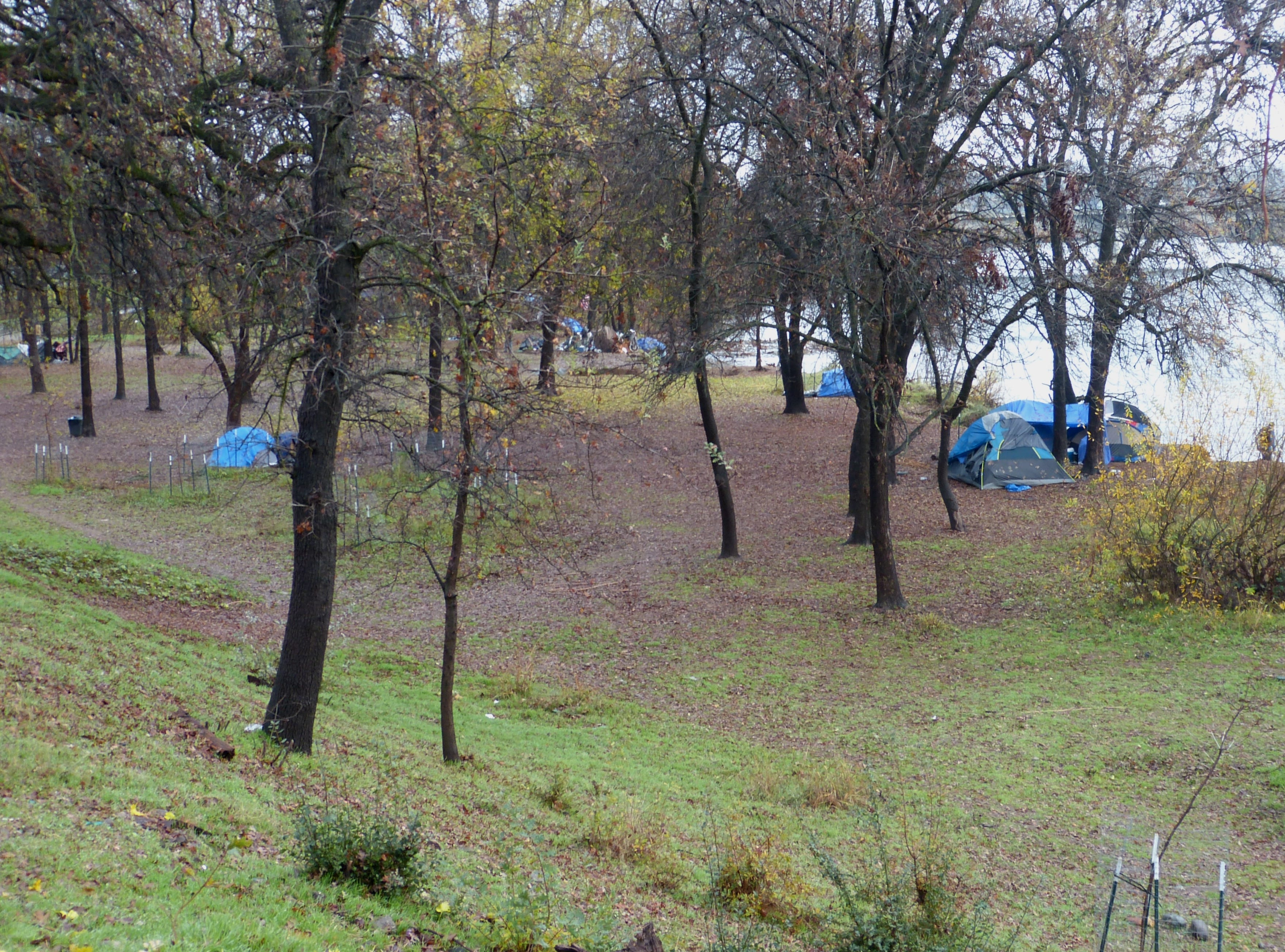 """The fate of a small """"tent city"""" at the Parkview Riverfront Park could rest Tuesday with the Redding City Council."""