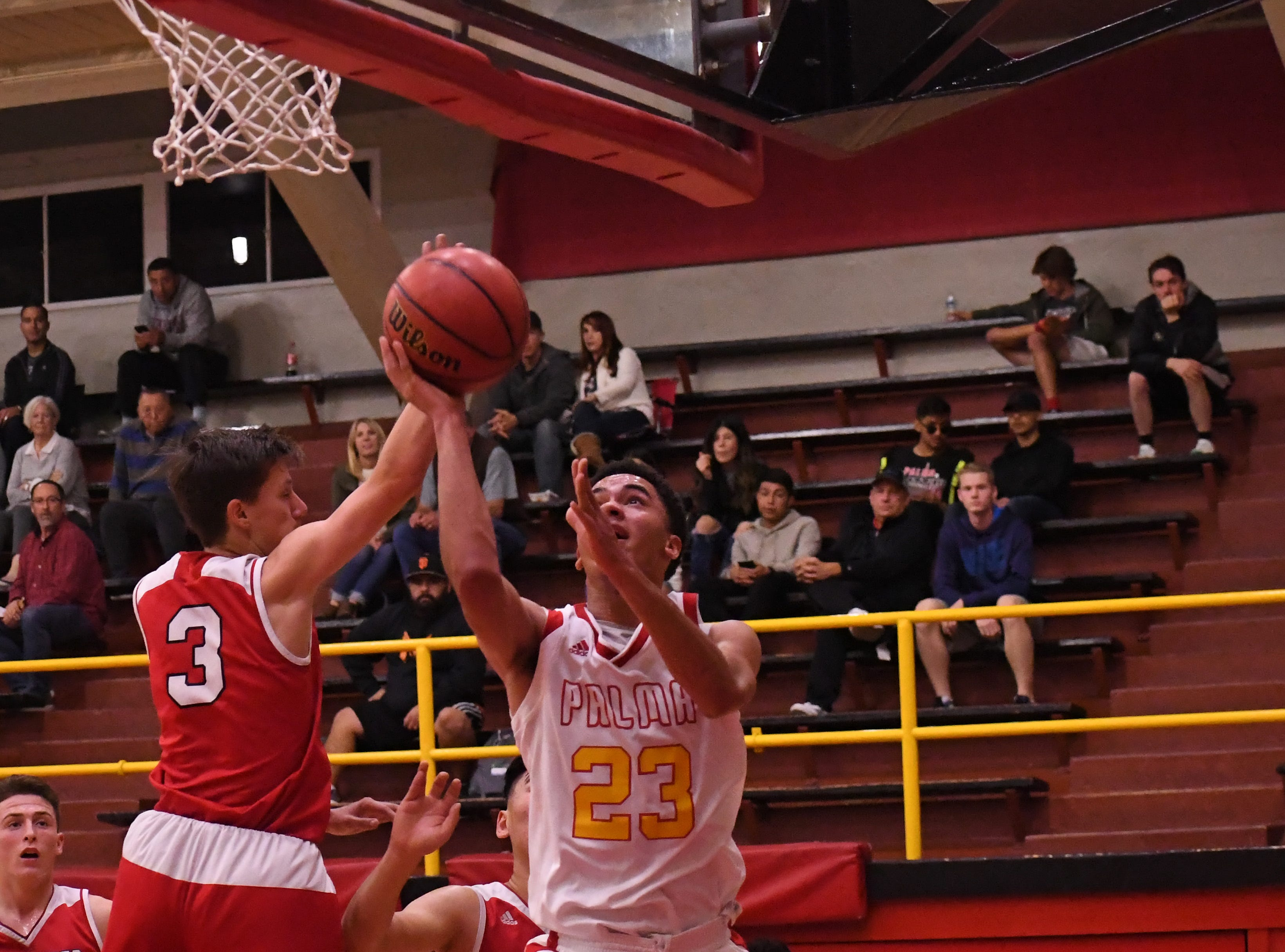 Palma forward Brenden Cannon (23) changes his release mid-air to avoid a defender.