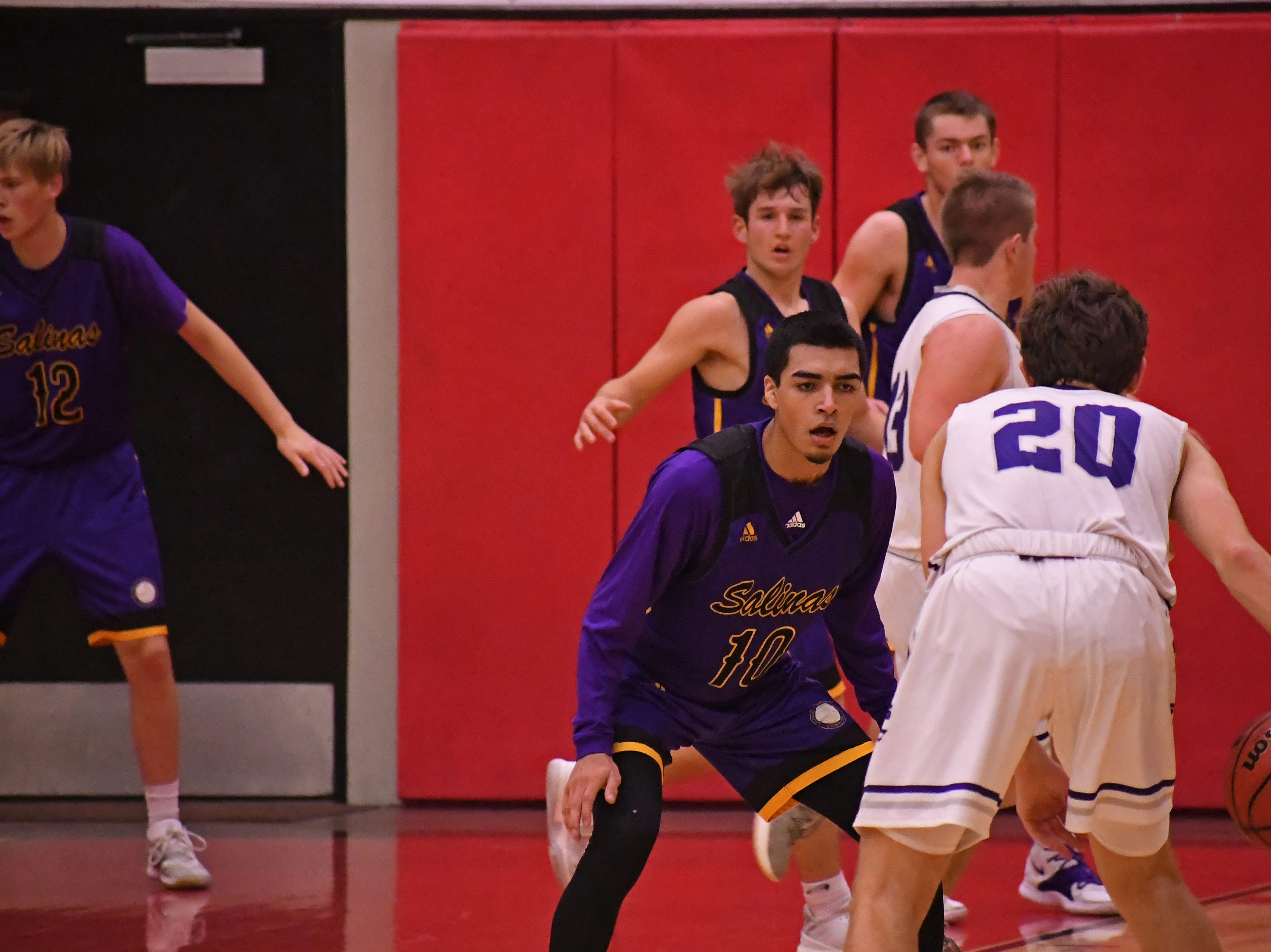 Salinas guard AJ Saldana (10) stays in front of his assignment on defense.