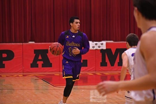 Salinas guard AJ Saldana (10) scored 13 points in the Cowboys' loss to Monterey Friday night and earned boys' Athlete of the Week honors.