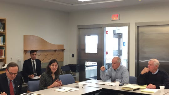 Congresswoman-elect Elaine Luria speaks during a meeting with leaders from Accomack and Northampton counties in Wachapregue, Virginia on Monday, Dec. 17, 2018.