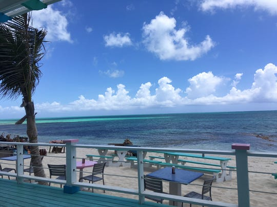 The view from the deck of a conch shack  on a trip to Turks and Caicos.