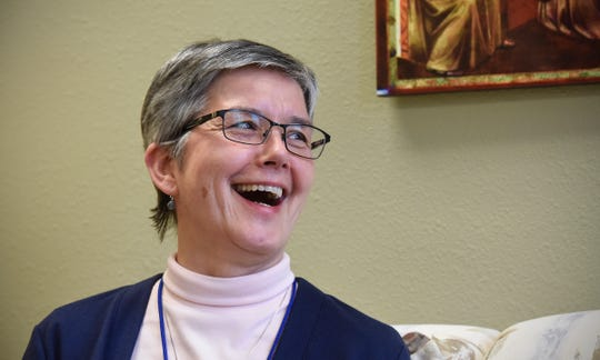Franciscan Sister Michelle L'Allier talks about the future of the community during an interview Tuesday, Dec. 11, in Little Falls.