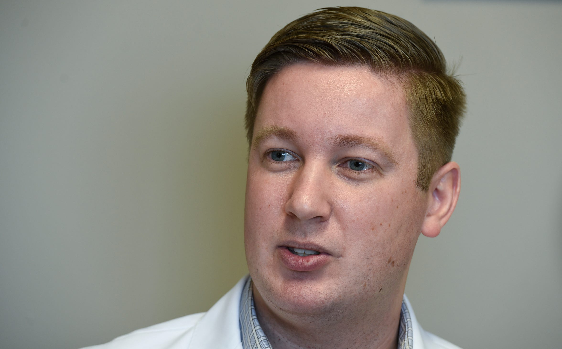 Dr. Cody Wendlandt speaks during an interview Monday, Dec. 10, at Sartell Family Medicine in Sartell.