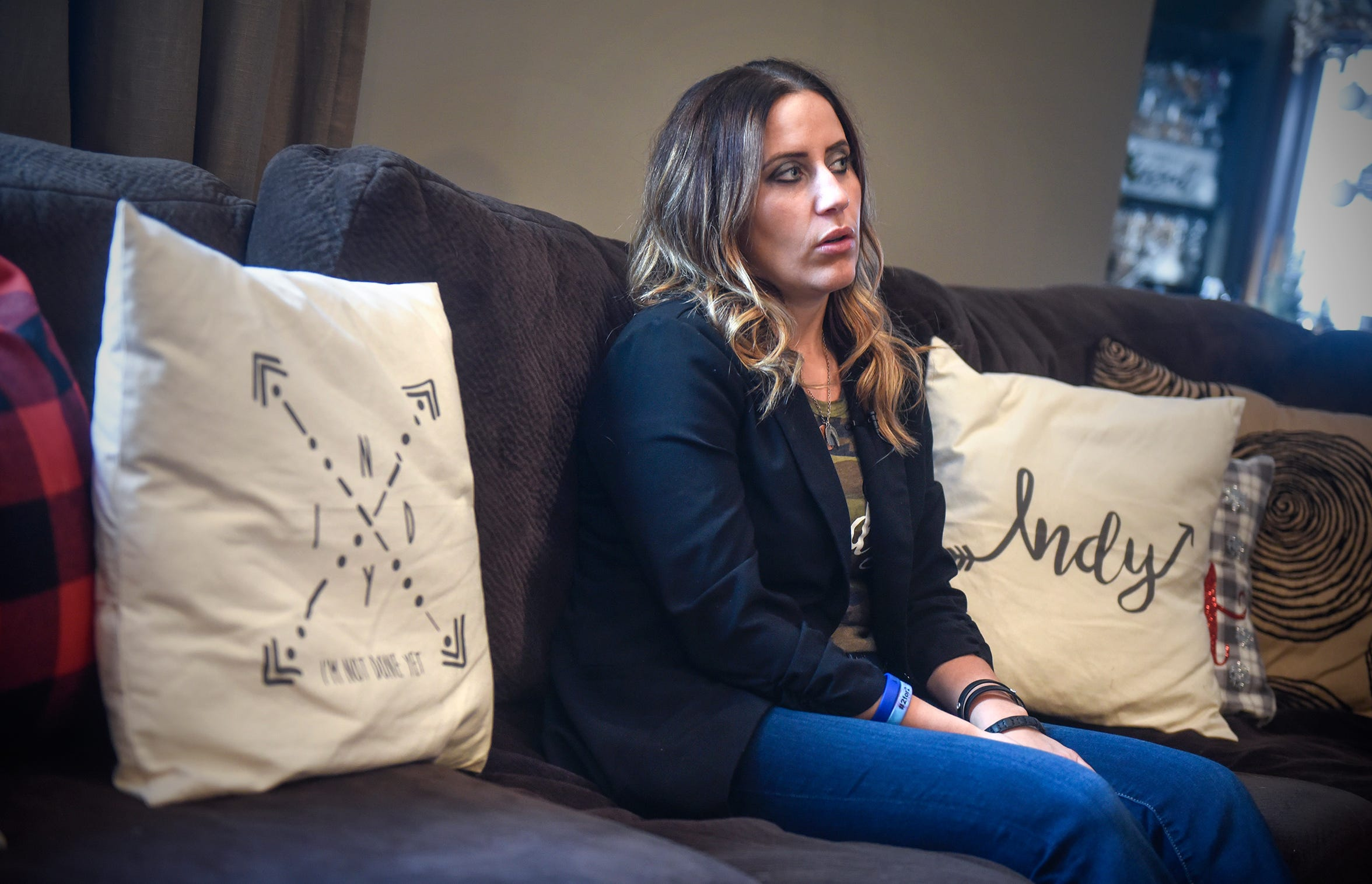 INDY Foundation founder Kayla Strand talks about her late husband, Kyle, during an interview Thursday, Dec. 13, at her home.