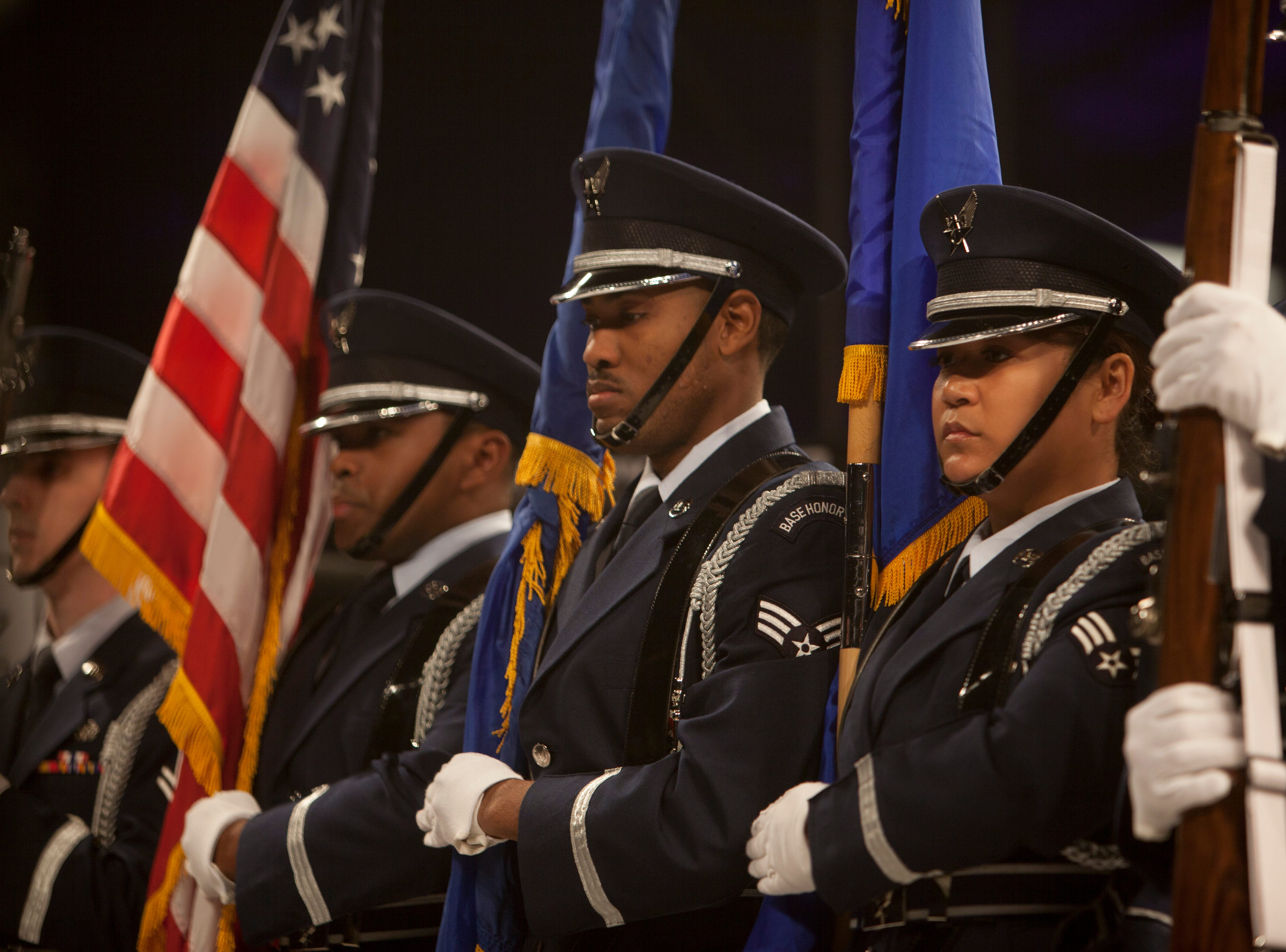 The Nellis AFB ROTC presents the flag during Mayhem in Mesquite Saturday, Dec. 15, 2018.