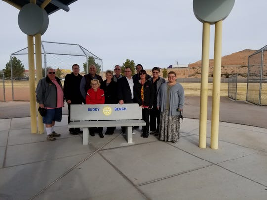 Members of the Rotary Club of Mesquite help present the Buddy Bench to Virgin Valley Elementary School on Dec. 14, 2018.