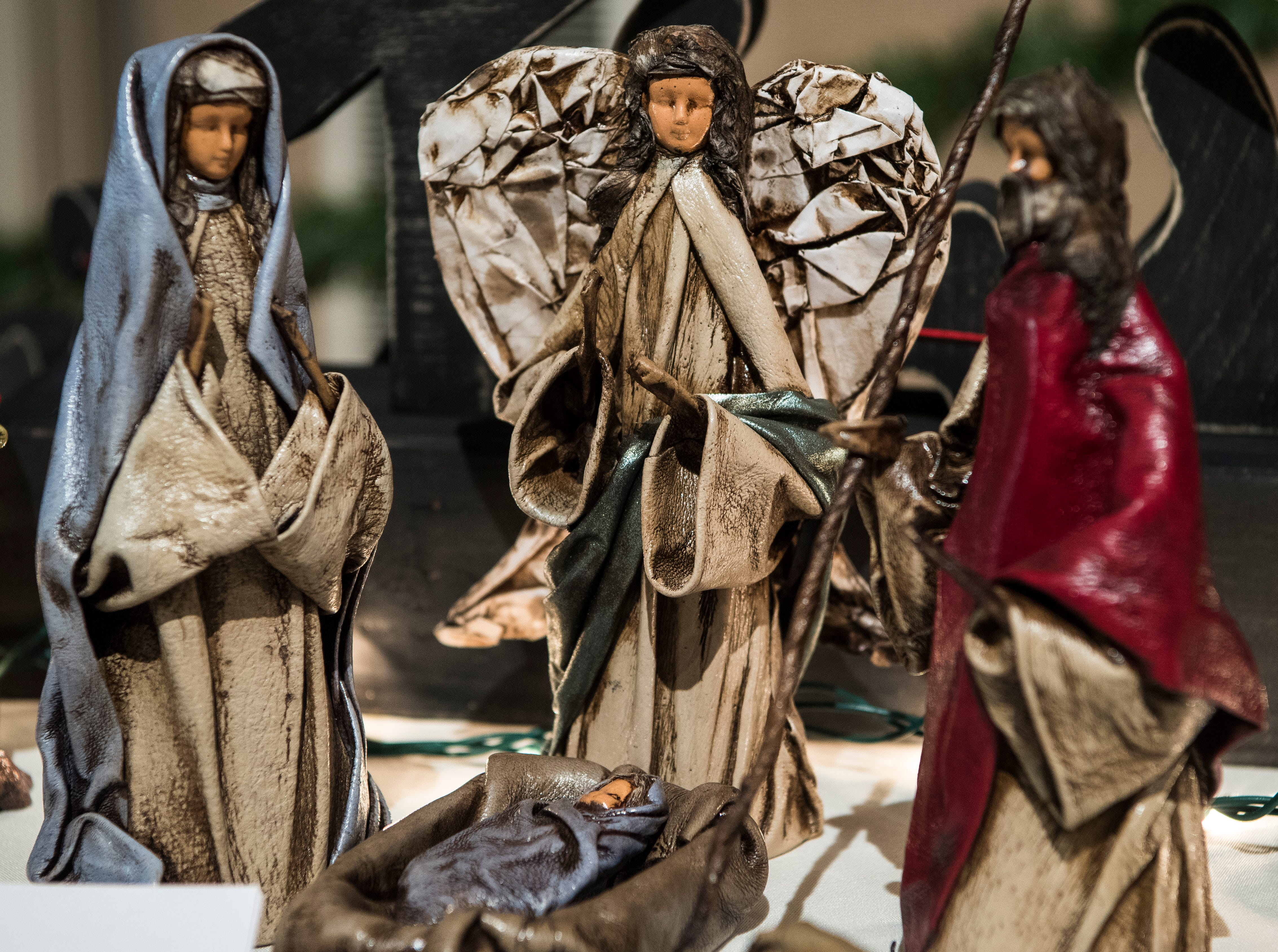 Figures made from painted leather are displayed in the Crèche Festival at the Canyon View Stake in Cedar City  Sunday, December 16, 2018. The festival is for one night in December every two years.