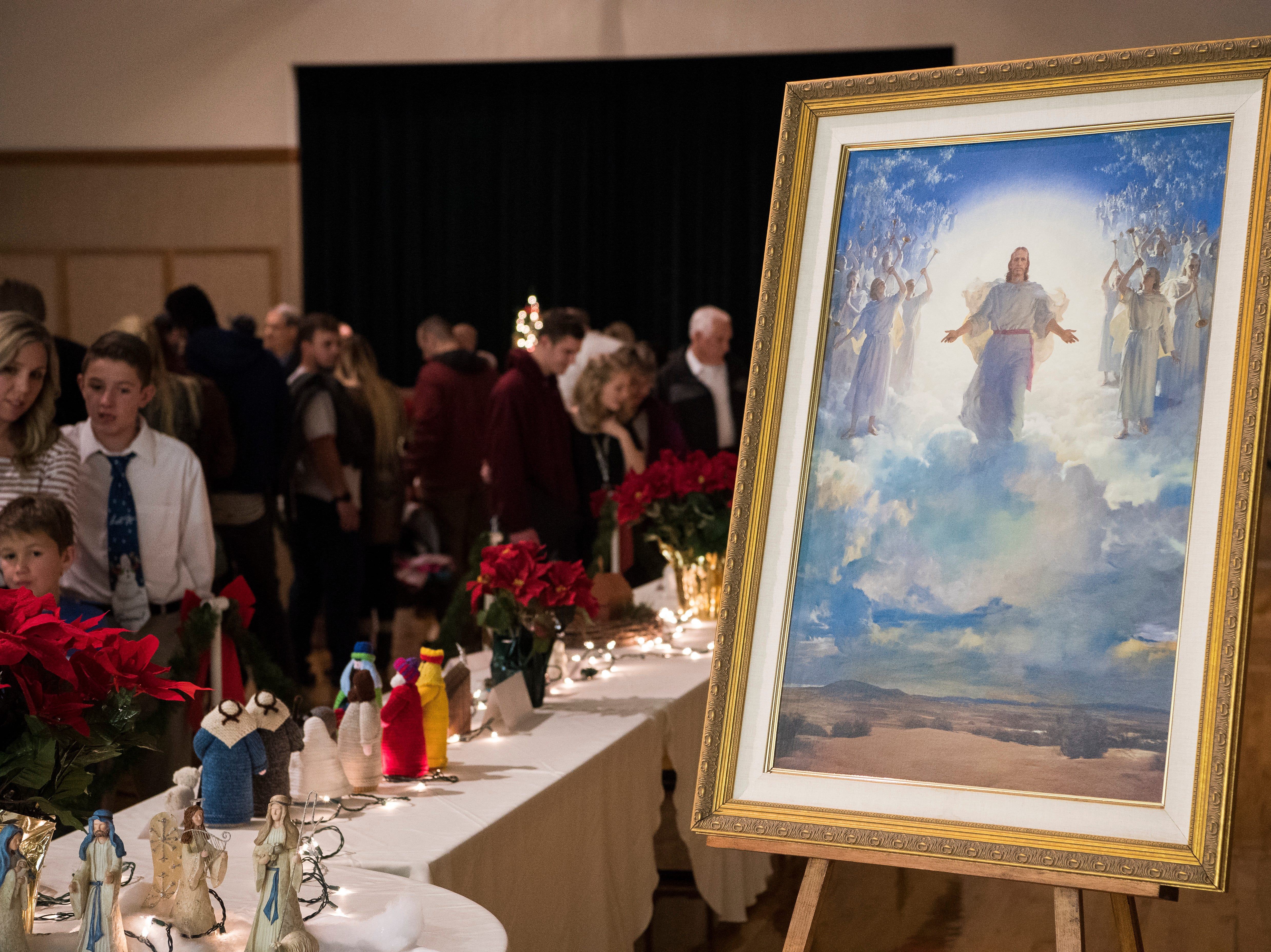 Visitors view more than 450 nativity scenes for the Crèche Festival at the Canyon View Stake in Cedar City  Sunday, December 16, 2018. The festival is for one night in December every two years.