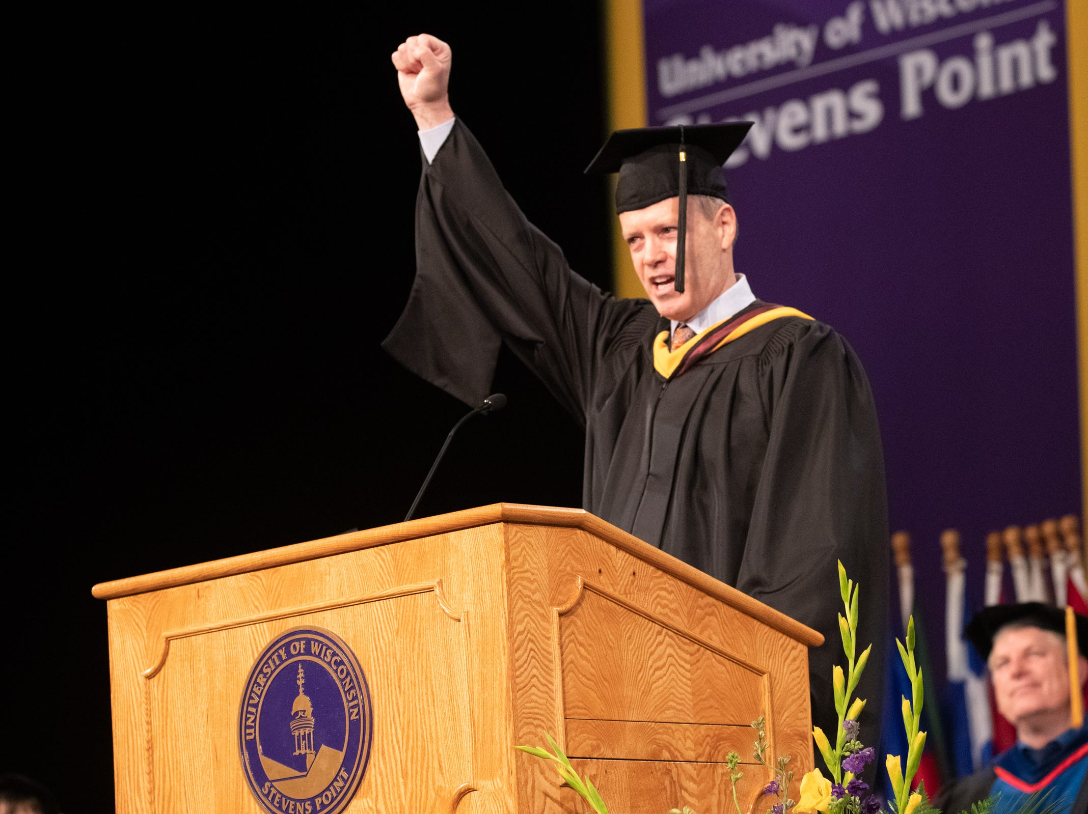 Mike Roman, CEO of 3M and alumnus of UWSP, address graduates and their families during the 2018 winter commencement ceremony at the University of Wisconsin-Stevens Point on Dec. 15, 2018, in Stevens Point.