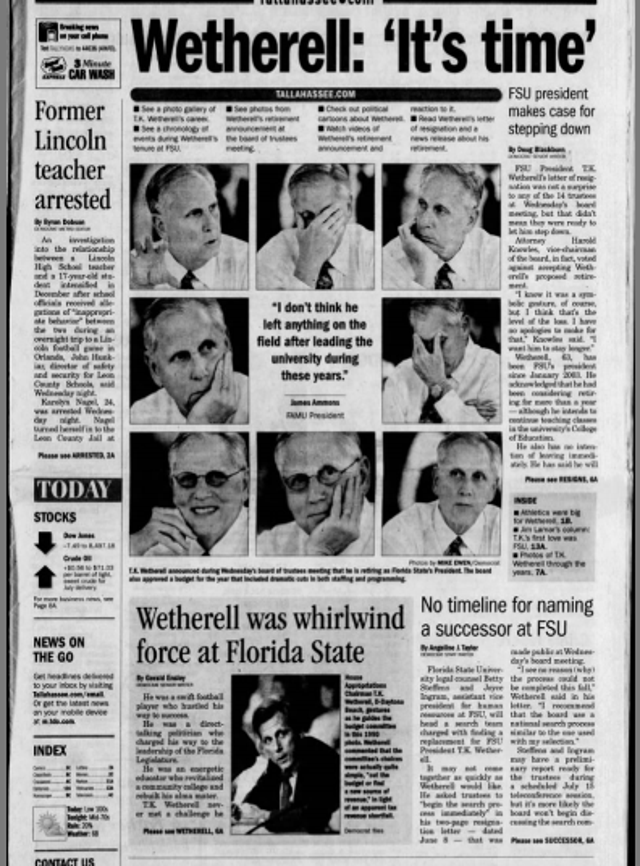 From the archives: FSU president T K  Wetherell resigns