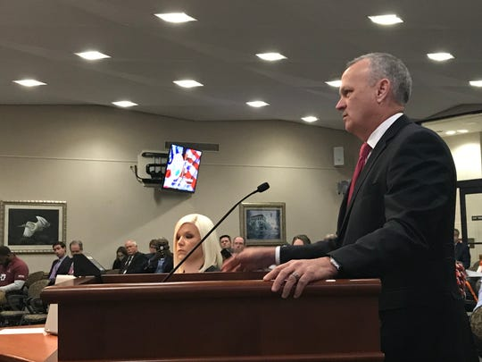 Richard Corcoran listens to a question from a member of the State Board of Education. The Board voted unanimously to appoint Corcoran as Commissioner of Education - Dec. 17, 2018
