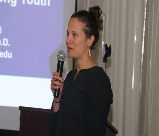 Roxanne Hughes speaks to the STEM S4Girls event.