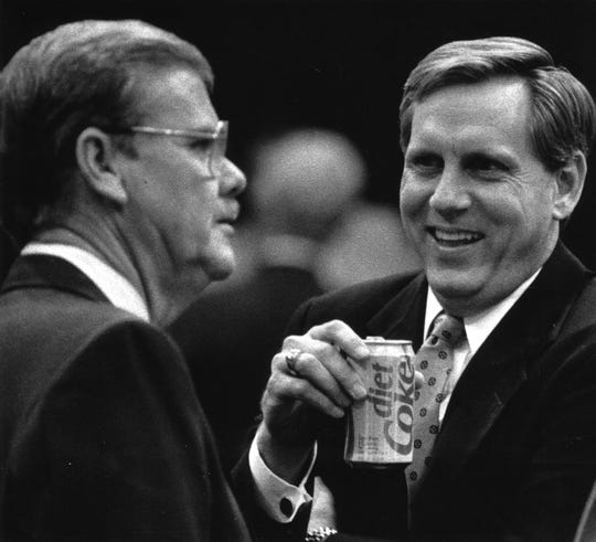 House Appropriates Chairman Rep. TK Wetherell laughs at the comments of Rep. Carl Carpenter on May 4, 1989,