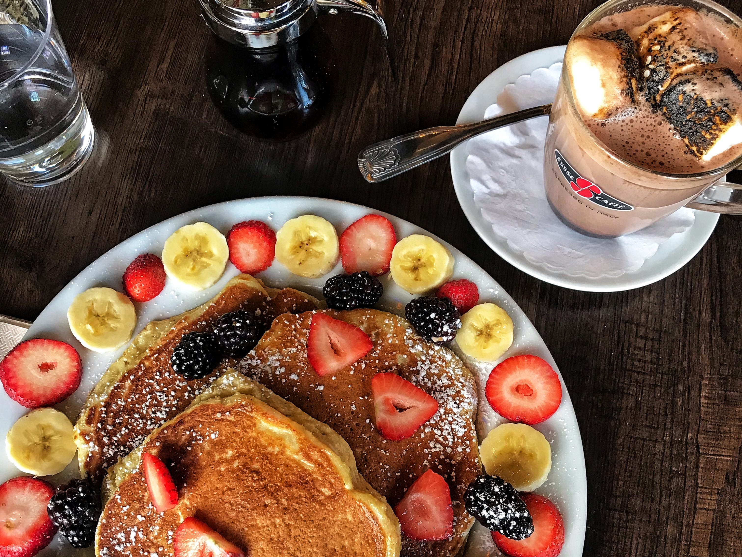 Paleo pancakes and hot chocolate at Stan'z Cafe in Larchmont. Photographed Dec. 12, 2018.