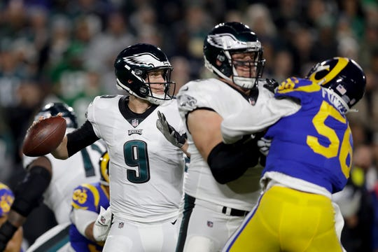 Philadelphia Eagles quarterback Nick Foles passes against the Los Angeles Rams during the first half in an NFL football game Sunday, Dec. 16, 2018, in Los Angeles. (AP Photo/Marcio Jose Sanchez)