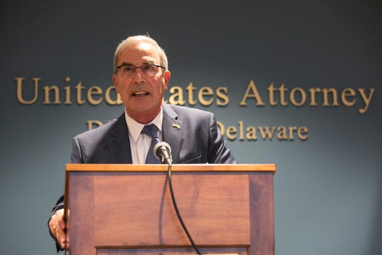 U.S. Attorney David Weiss gives a statement after the sentencing of former president of Wilmington Trust Robert Harra Jr. Monday afternoon in Wilmington.