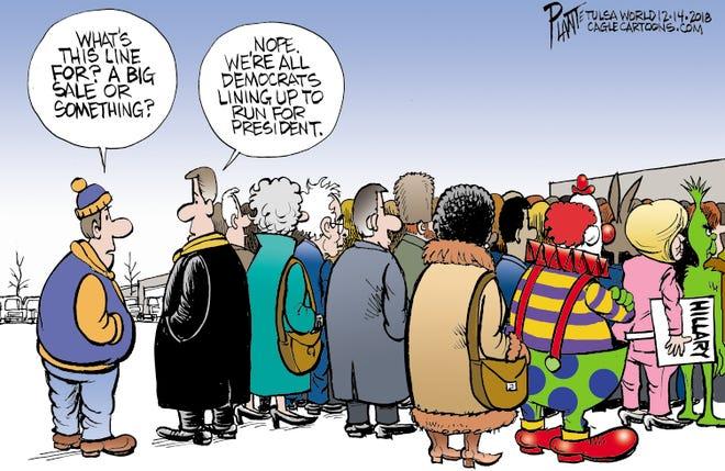 Bruce Plante Cartoon: Big Sale?, Democratic Party, DNC, Presidential Race 2020, Democratic primary,President Donald J. Trump, Plante 20181216