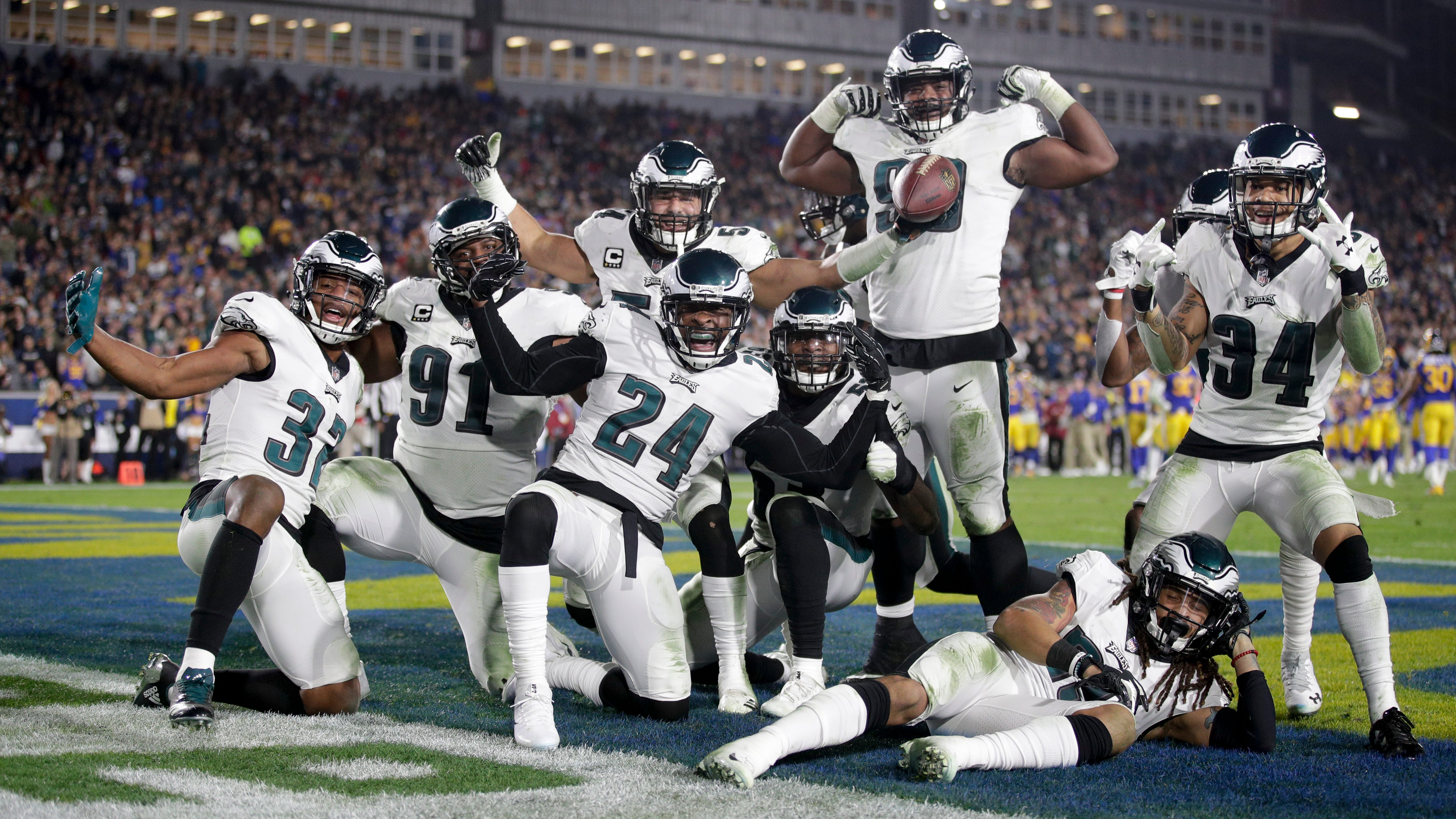 Philadelphia Eagles free safety Corey Graham (24) celebrates with teammates after recovering a fumble by Los Angeles Rams quarterback Jared Goff sduring the second half in an NFL football game Sunday, Dec. 16, 2018, in Los Angeles. (AP Photo/Jae C. Hong)