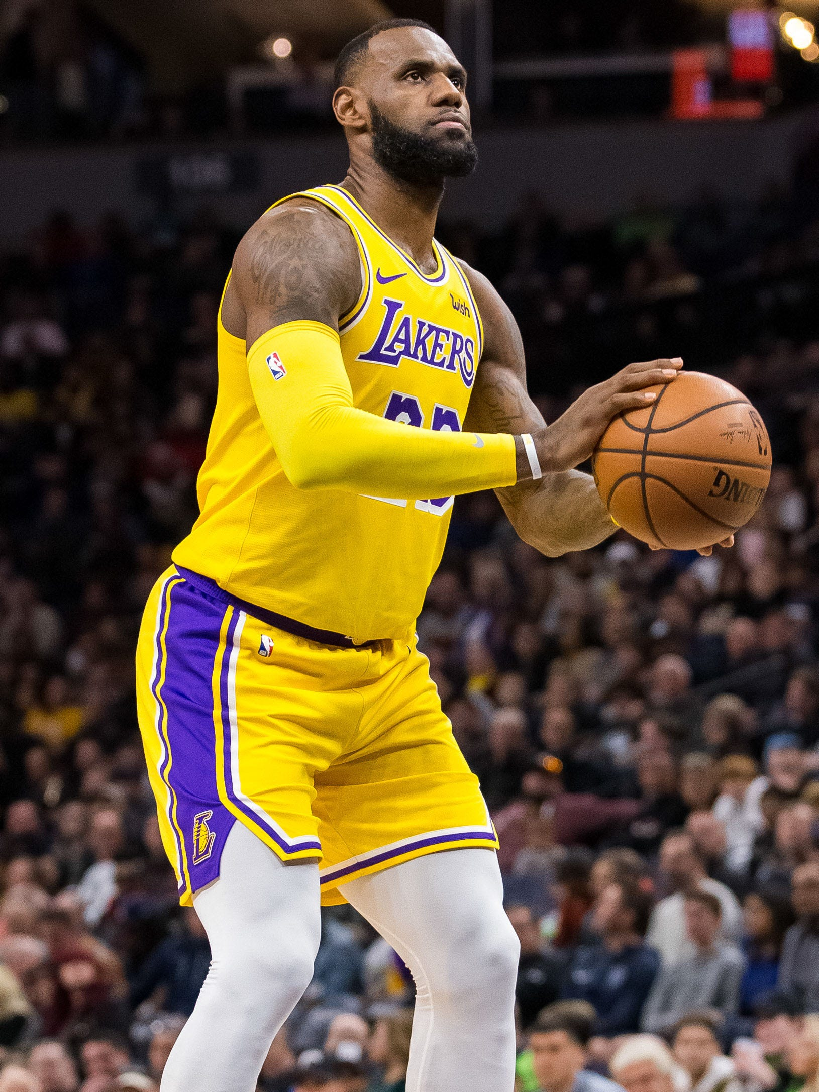 Los Angeles Lakers forward LeBron James shoots a free throw.